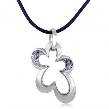 Damen Kette 925 Silber Zirkonia Halskette Anhänger NOBEL SCHMUCK