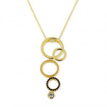 NOBEL SCHMUCK Damen-Kette Gold Halskette 925 Silber vergoldet Zirkon Topas