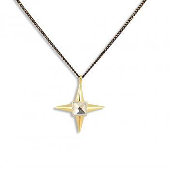 Damen-Kette Stern Halskette Strass Gold Silber Schwarz PONG PONG