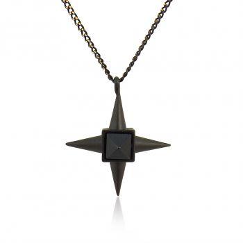 Damen-Kette Halskette Stern mit Kristall von Swarovski® Schwarz Gold Gothic PONG PONG