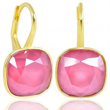NOBEL SCHMUCK Ohrringe 925 Silber vergoldet mit Kristallen von Swarovski® Pink