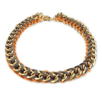NOBEL SCHMUCK Statement-Kette Gold Leder Orange Braun Damen Halskette
