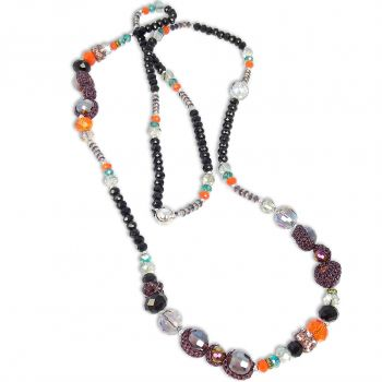 Damen-Kette mit Kristallen von Swarovski® Schwarz Orange NOBEL SCHMUCK