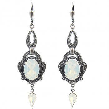 Jugendstil Ohrringe mit Kristallen von Swarovski® Silber White Opal NOBEL SCHMUCK