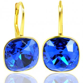 NOBEL SCHMUCK Ohrringe Gold Blau mit Kristallen von Swarovski® 925 Sterling