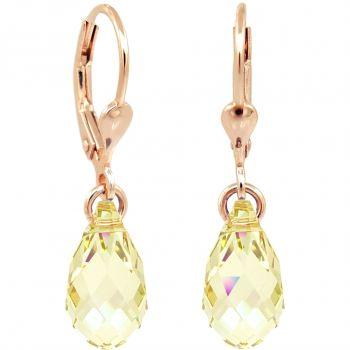 Ohrringe Rosegold Grün Gelb Tropfen Swarovski® Kristalle 925 Silber NOBEL SCHMUCK