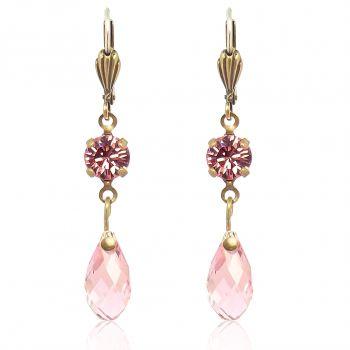 Rosa Ohrringe mit Kristallen von Swarovski® Gold NOBEL SCHMUCK