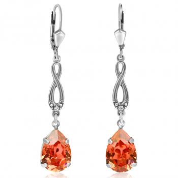 Jugendstil Ohrringe mit Kristallen von Swarovski® Silber Rosa Padparadscha NOBEL SCHMUCK