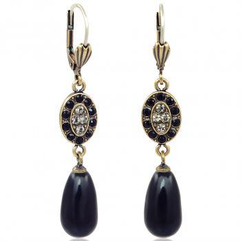 Jugendstil Ohrringe mit Kristallen von Swarovski® Perlen Gold Schwarz NOBEL SCHMUCK