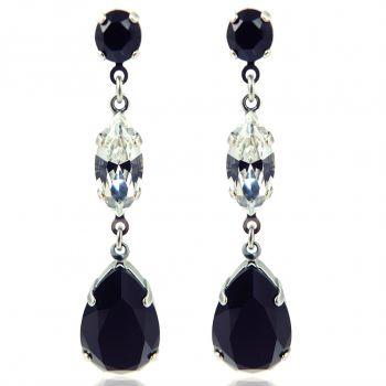 Ohrhänger Ohrringe mit Kristallen von Swarovski® Silber Schwarz Weiß NOBEL SCHMUCK