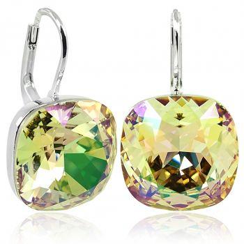 Ohrringe mit Kristalle von Swarovski® Grün Gelb Silber NOBEL SCHMUCK