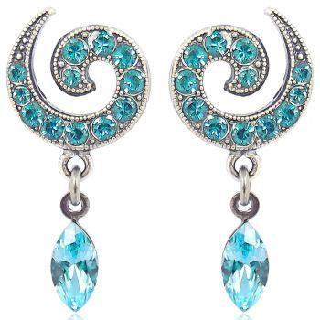 Ohrstecker Kringel mit Kristallen von Swarovski® Silber Viele Farben NOBEL SCHMUCK
