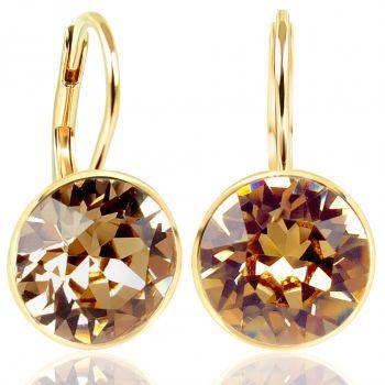 NOBEL SCHMUCK Ohrringe Gold Topaz mit Kristallen von Swarovski® 925 Sterling - schlicht modern