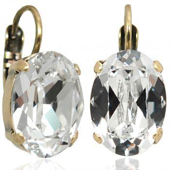 Kristall-Ohrringe Gold Crystal Klappverschluss NOBEL SCHMUCK