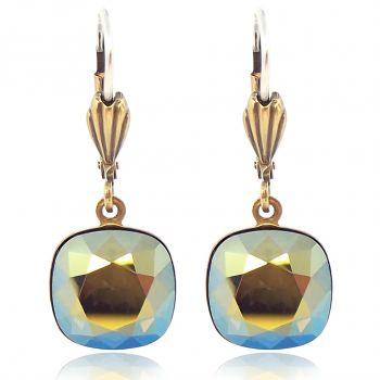 Ohrhänger mit Kristallen von Swarovski® Grün Gold NOBEL SCHMUCK