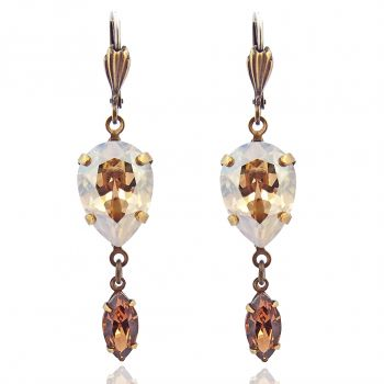 Damen-Ohrringe Ohrhänger Braun Kristall von Swarovski® Gold NOBEL SCHMUCK