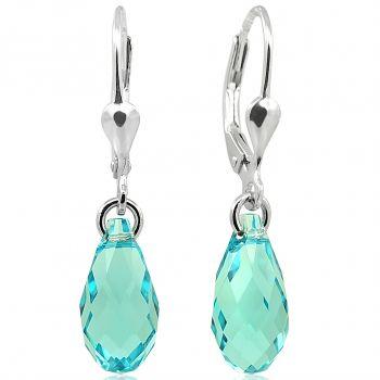 Ohrringe Ohrhänger Tropfen mit Swarovski® Kristallen 925 Sterling Silber Türkis NOBEL SCHMUCK