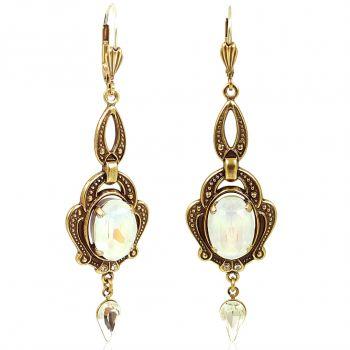 Chandelier Ohrringe Gold Jugendstil mit Kristallen von Swarovski® Weiß NOBEL SCHMUCK