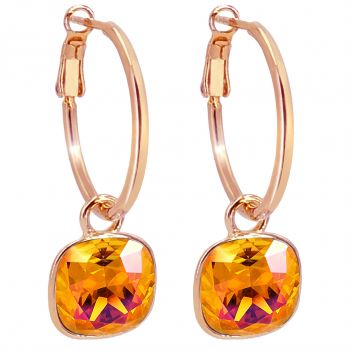 Rosegold Creolen Charm Anhänger Markenkristalle Orange Ohrringe 925 Sterling NOBEL SCHMUCK