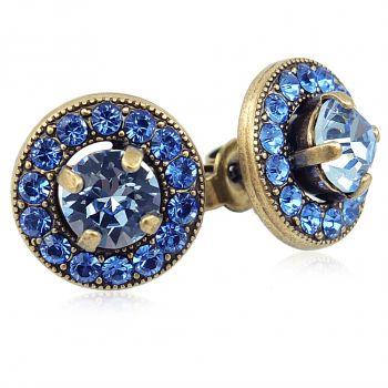 Damen-Ohrstecker mit Kristallen von Swarovski® Blau Gold NOBEL SCHMUCK