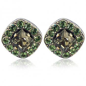 Damen-Ohrstecker mit Kristallen von Swarovski® Grün Silber Erinite NOBEL SCHMUCK