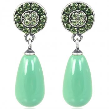 Ohrstecker Silber Grün hängend Jade Pearl Vintage Look NOBEL SCHMUCK