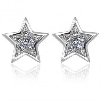 Ohrstecker Stern Kristalle Gold od. Silber Damen-Ohrringe NOBEL SCHMUCK
