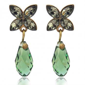 Damen-Ohrstecker Schleife mit Kristallen von Swarovski® Gold Viele Farben NOBEL SCHMUCK