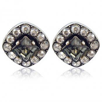 Damen-Ohrstecker mit Kristallen von Swarovski® Silber Grau NOBEL SCHMUCK