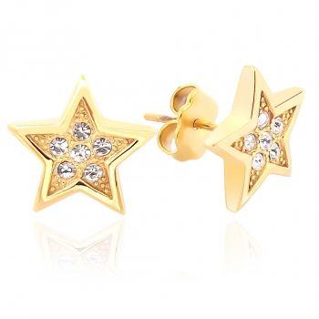 Ohrstecker Stern mit Kristallen von Swarovski® Gold NOBEL SCHMUCK
