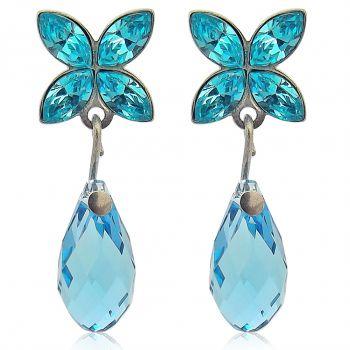 Damen-Ohrstecker Schleife mit Kristallen von Swarovski® Silber Viele Farben NOBEL SCHMUCK