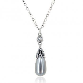 Perlenkette mit Kristallen von Swarovski® Grau Silber NOBEL SCHMUCK