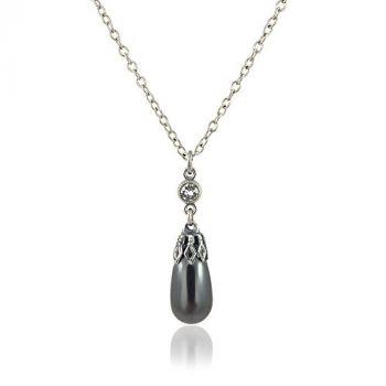 Perlenkette mit Kristalle von Swarovski® Silber Black Pearl NOBEL SCHMUCK