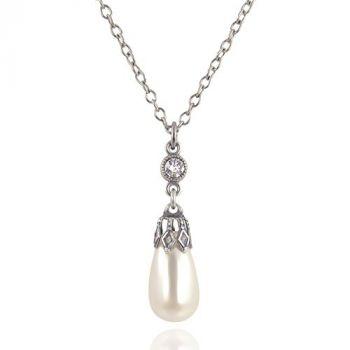 Perlenkette mit Kristallen von Swarovski® Silber Cream Pearl NOBEL SCHMUCK