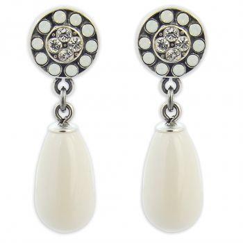 Ohrstecker Perle mit Kristallen von Swarovski® Silber Creme NOBEL SCHMUCK