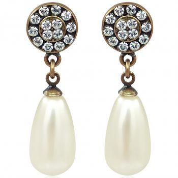 Perlenohrringe mit Kristallen von Swarovski® Gold Crystal NOBEL SCHMUCK
