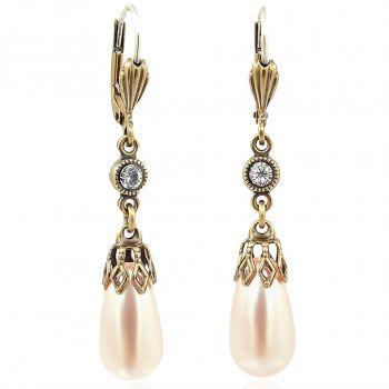 Perlen-Ohrringe mit Kristallen von Swarovski® Gold Pfirsich Ohrschmuck Damen NOBEL SCHMUCK