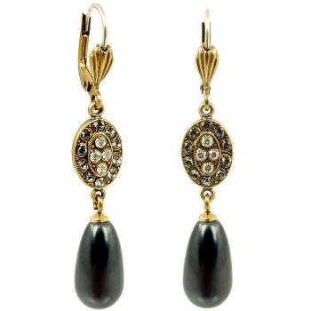 Jugendstil Ohrringe mit Kristallen von Swarovski® Perlen Gold Schwarz Grau NOBEL SCHMUCK