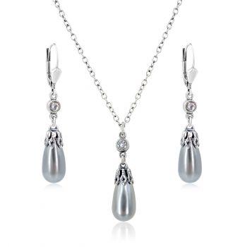 Schmuck-Set Kristalle von Swarovski® Silber Grau Kette Ohrringe NOBEL SCHMUCK