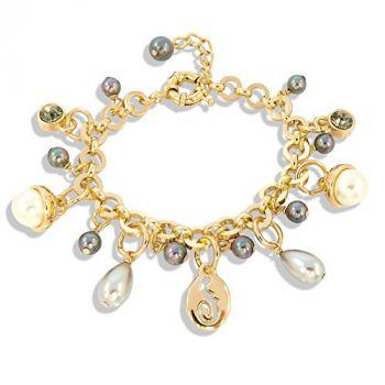 Bettelarmband mit Kristallen von Swarovski® Perlen Gold Grau NOBEL SCHMUCK