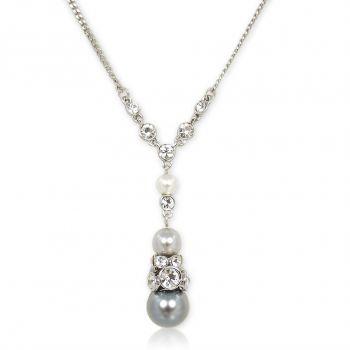 Perlenkette Halskette Silber Grau mit Kristallen von Swarovski® NOBEL SCHMUCK