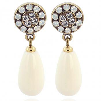 Perlenohrringe mit Kristallen von Swarovski® Gold Creme NOBEL SCHMUCK