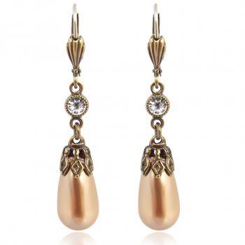 Perlen-Ohrringe Gold mit Kristallen von Swarovski® Bronze NOBEL SCHMUCK