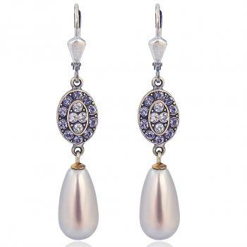 Jugendstil Perlenohrringe mit Kristalle von Swarovski® Silber Violett NOBEL SCHMUCK