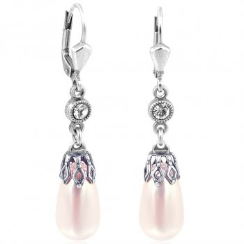 Perlen-Ohrringe mit Kristallen von Swarovski® Silber Viele Farben NOBEL SCHMUCK