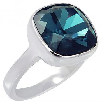 Ring Gr. 56 mit Kristallen von Swarovski® Silber Blau Montana NOBEL SCHMUCK