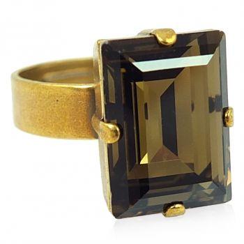 Modeschmuck Ring Gold mit Stein in Rauchquarz NOBEL SCHMUCK