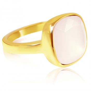 NOBEL SCHMUCK Damen-Ring Gold Rosa großer Kristall Cocktailring mit Stein Rose Water Opal