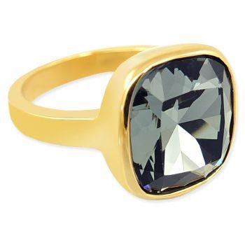 Damen-Ring Gold Schwarz mit Markenkristall NOBEL SCHMUCK