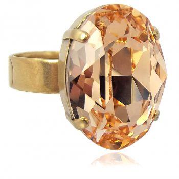 Damen-Ring mit Kristall von Swarovski® Rosa Peach Gold Größe Variabel NOBEL SCHMUCK